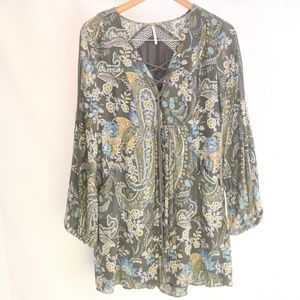 Free People Women's S Tunic Paisley Tie Front
